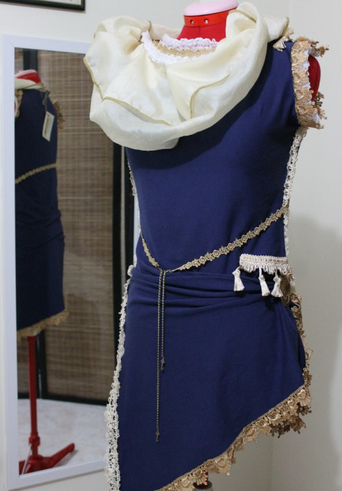 High-Neck Steampunk Circus Asymmetrical Dress