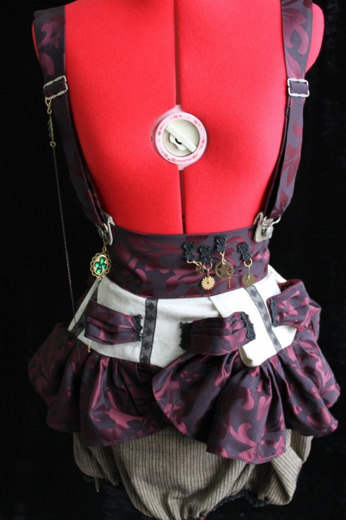 Grey, Black, or Charcoal Steampunk, Circus, Visual Kei Suspender Peplum Skirt