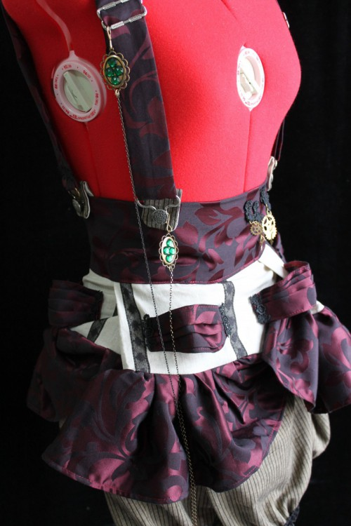 Steampunk Mini Skirt with Brass Suspenders