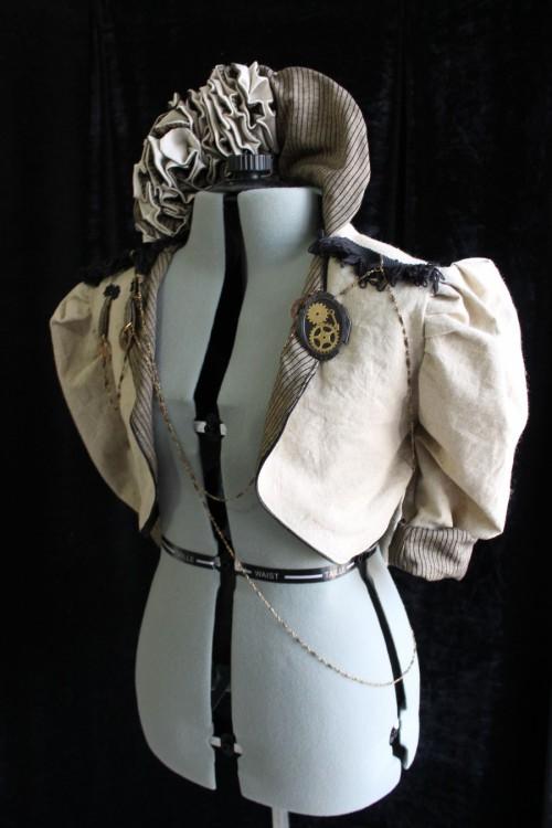 Steampunk Ruffle Jacket - Cream, Black, or Charcoal Linen