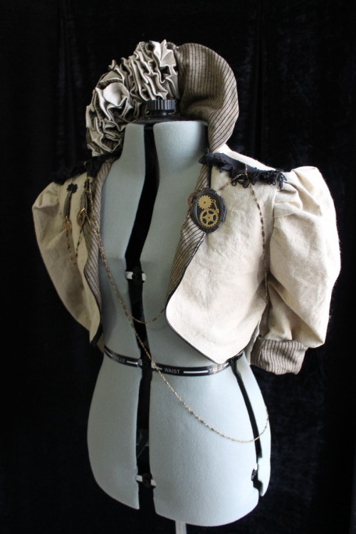 Steampunk Ruffle Jacket - Cream, Black, or Charcoal Linen