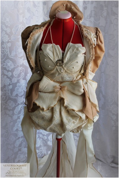 Fall Petals 3pc Bustle Gown, Vintage-style Rustic Bird Nest Bridal Costume