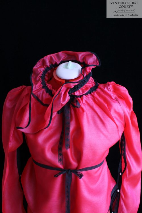 High-neck Victorian Sheer Silk Blouse