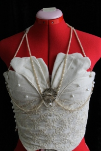 Victorian-Inspired Organic Cotton Bustier with 'Pearls'