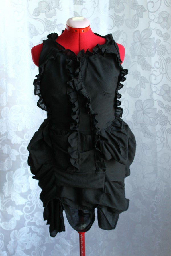 Black Steampunk Mini Bustle Dress Made in Australia