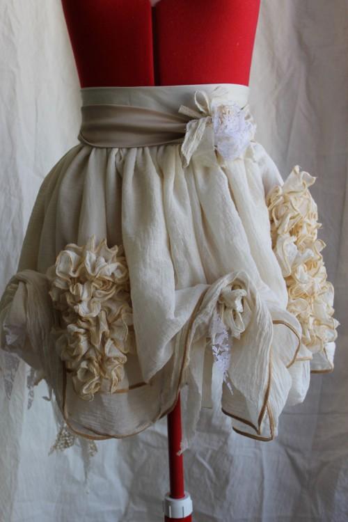 Romantic tattered cotton muslin skirt