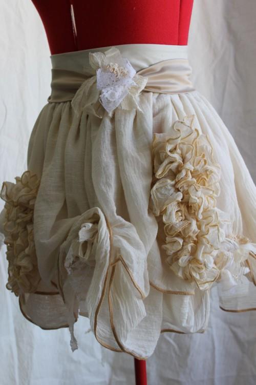Romantic Mini Skirt with Sash & Floral Buds