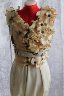 FRONT: Steampunk 'Officer' Vest with Steampunk Suspender Pantaloons with Back Trail