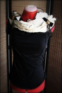Gothic Black Stretch Cotton Blouse with Asymmetrical Neckline