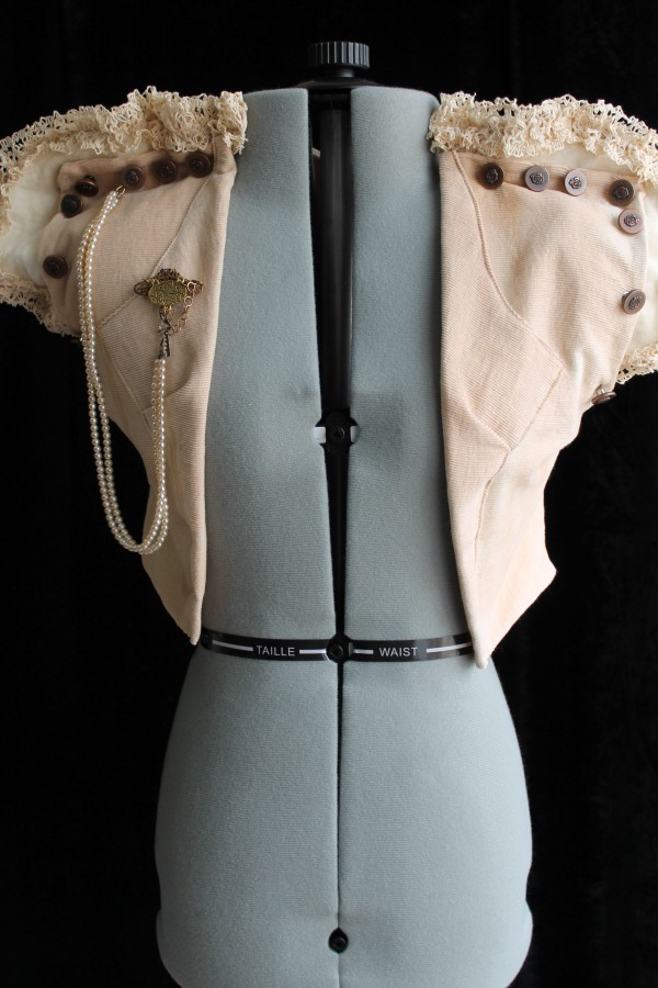 Rustic Steampunk Vest with Vintage Glass Beads & Brass Brooch