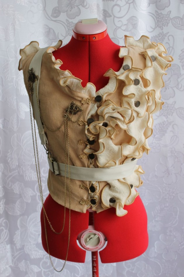 Custom Steampunk Vest with Front Ruffles & Brass Buttons