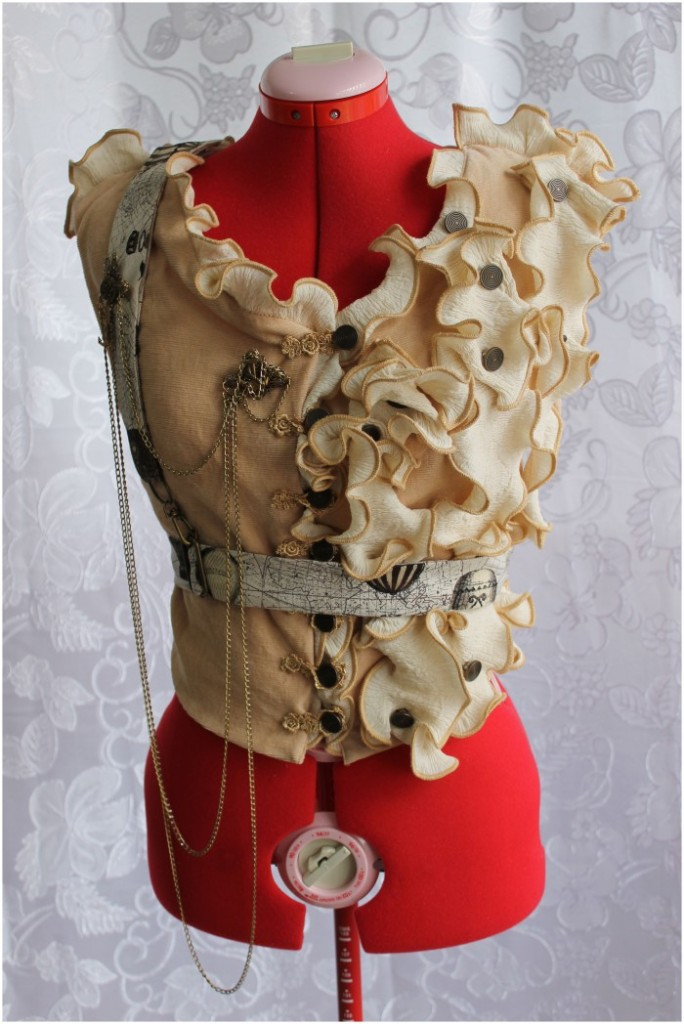 Old Circus Style Vest with Ruffles, Harness, Buttons, & Brooches