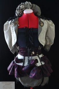 Custom Steampunk, Circus, Visual Kei Style Bustle Dress with Steampunk Brooches & Chains