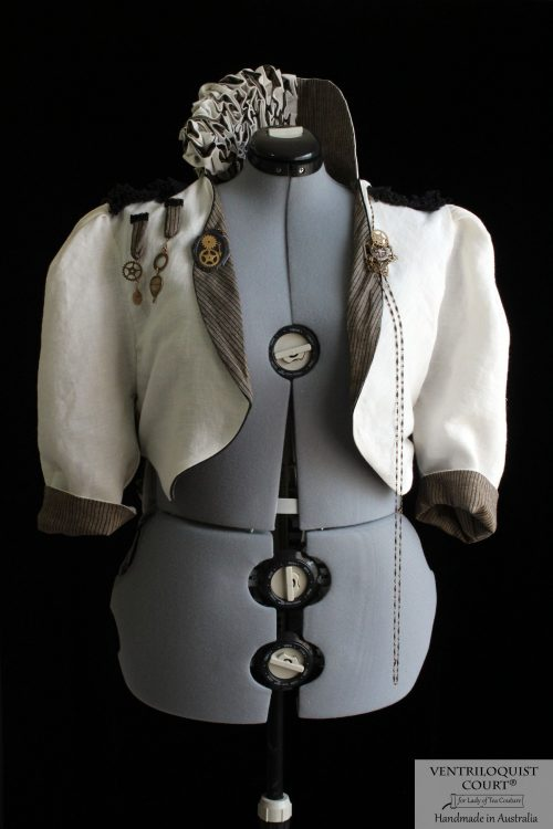 Pale Cream Linen Steampunk Circus Jacket with High Collar