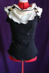 FRONT: Black Asymmetrical Blouse with Owl Buckles