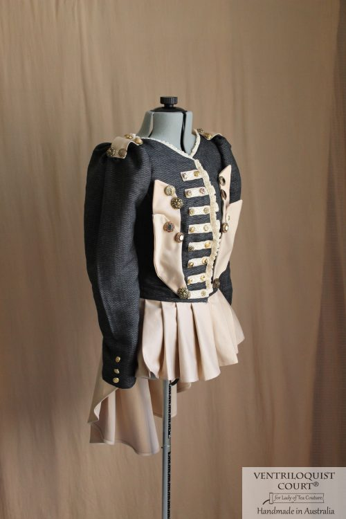 Circus military stripes jacket - black or white cotton