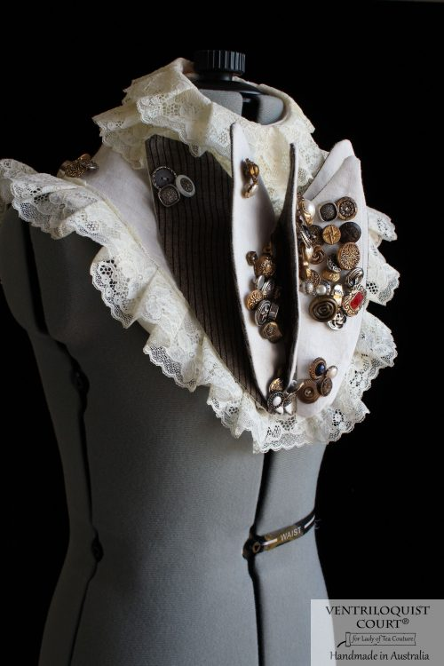 Victorian-Inspired Circus Neck Collar with Buttons & Pleats
