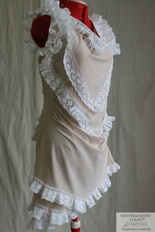 Antique-style White Lace & Tea Stretch Cotton Dress - Handmade in Australia