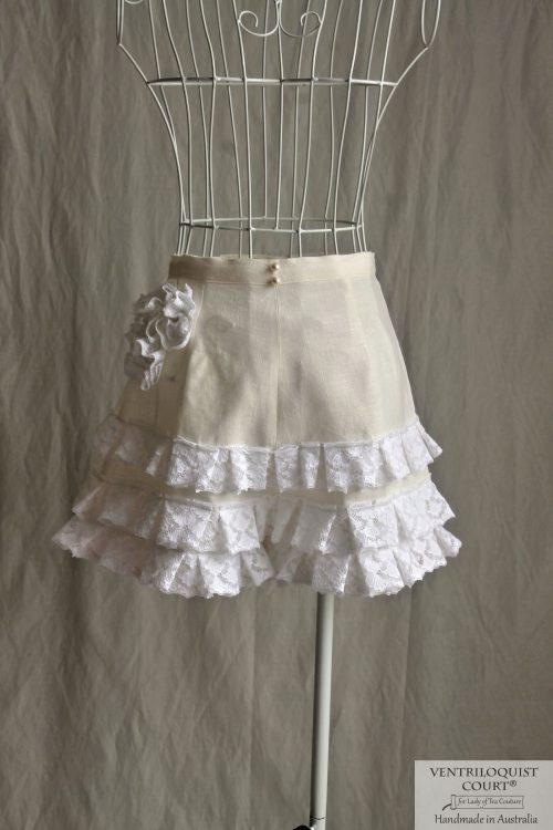 White Lace & Cream Linen Shorts Made in Australia