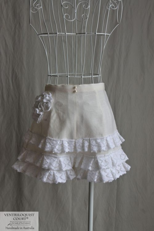 Women's Linen Clothing, Bohemian Cottage Lace Ruffle Shorts