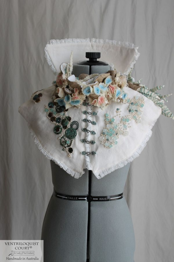 Beach-themed Collar inspired by Victorian Costumes, Eco-friendly Textile Art Capelet
