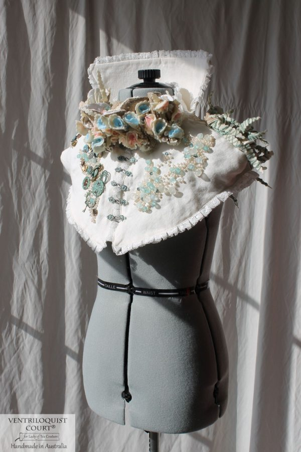 Eco-friendly High-neck Capelet with Recycled Glass & Recycled Plastic Florals