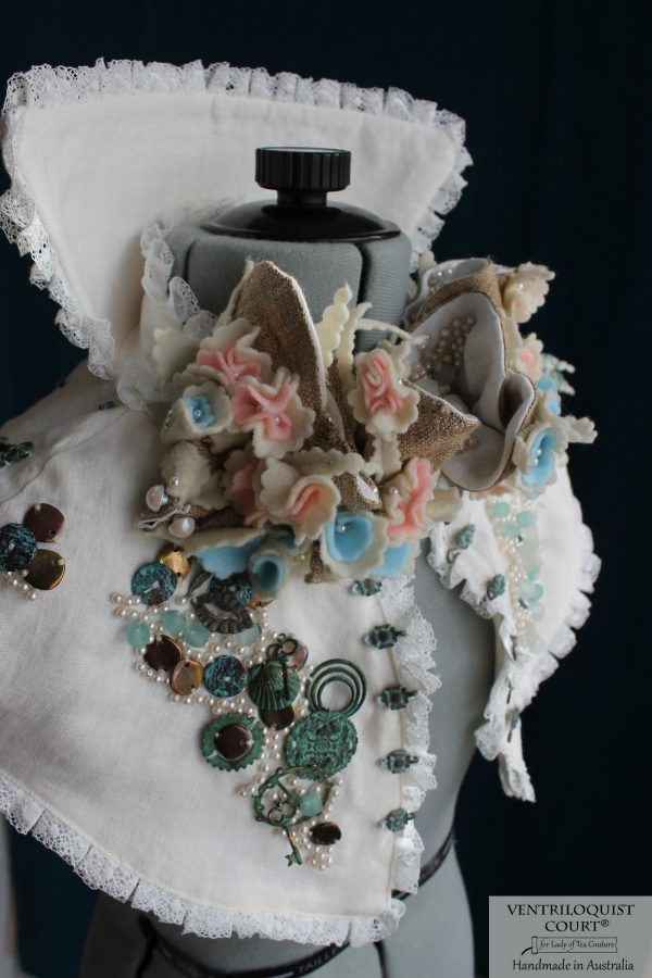 Intricate Handmade Textile Art Collar Inspired by Victorian Costumes