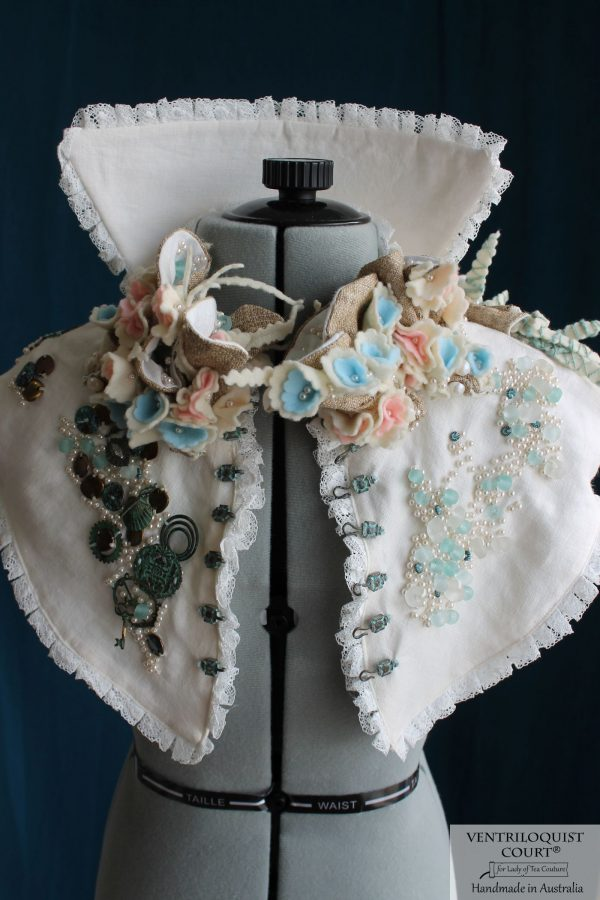 Intricate Eco-friendly, High-fashion Neck Collar Inspired by Victorian-era Costumes & Beach-themed Textile Artistry