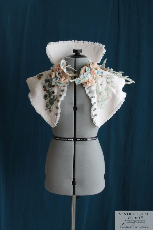 High-fashion Eco Steampunk Collar with Wild Silk, Recycled Glass, Recycled Plastic, & Cream Linen