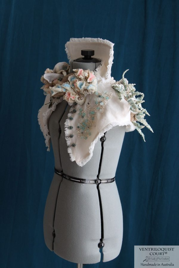 Victorian-inspired Recycled Glass & Recycled Plastic High-neck Collar, Textile Art Piece by VENTRILOQUIST COURT®