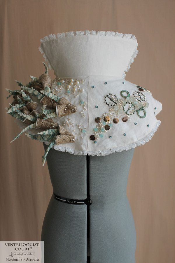 Eco Steampunk-themed Costume with Handsewn Wild Silk Textile Art