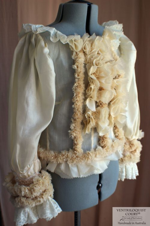 Victorian-inspired long puffy sleeves blouse with front ruffles