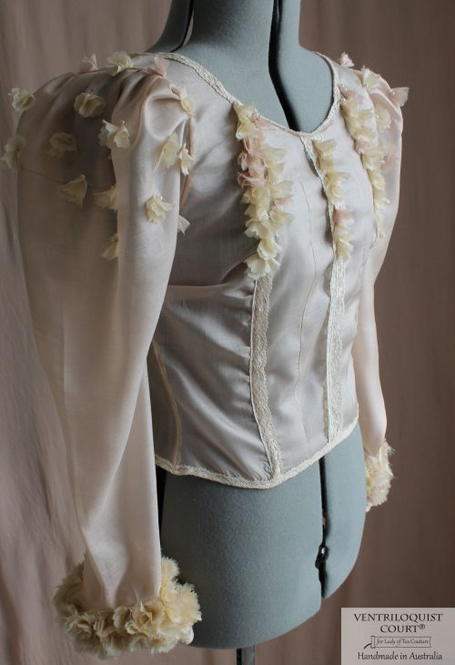 Sheer Blouse with Floral Ruffles on Cuffs