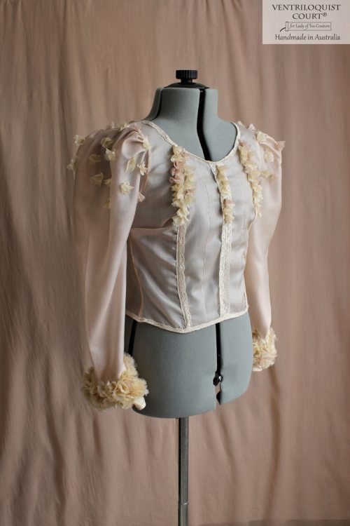 Romantic Sheer Eco Silk Blouse with Floral Buds
