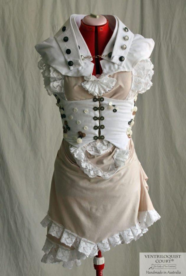 Antique-style Seaside-themed Romantic Bustle Dress for Avant-Garde & Steampunk Dress Wear