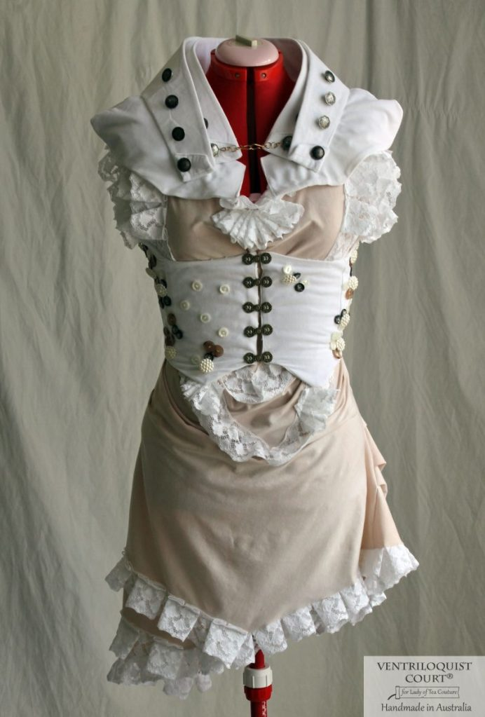 Antique-style Seaside-themed Romantic Bustle Dress for Avant-Garde & Steampunk Dress Wear