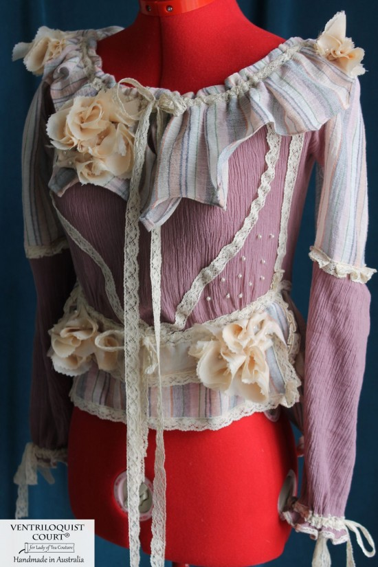 Organic Cotton & Eco Silk Victorian-inspired Blouse with Puffy Long Sleeves in Romantic, French Country, Cottage Style