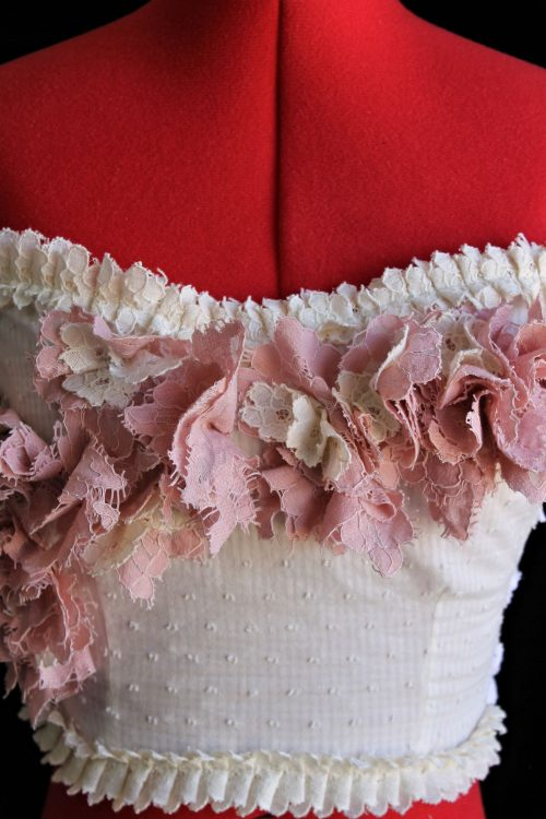 Pink & Cream Floral Buds Wedding & Formal Crop Top