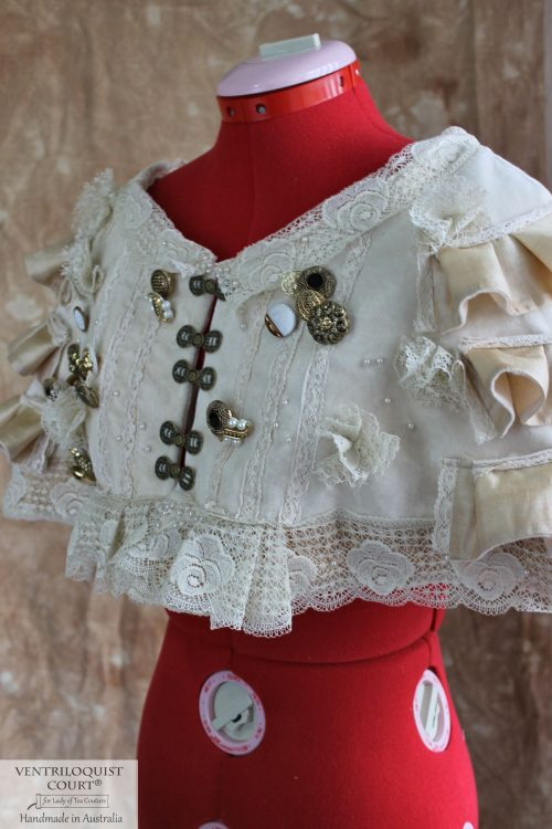 Steampunk Velvet Capelet with Eco Silk Ruffles on Side