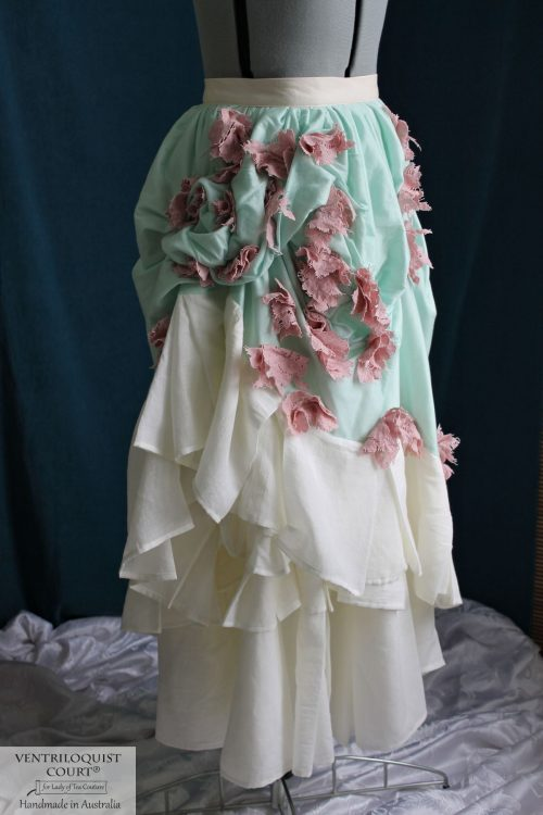 Bohemian Tattered Bustle Skirt - Mint Modal & Pink Lace