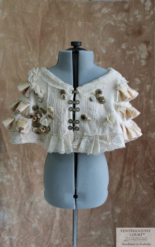 Victorian-Inspired Shipwreck Style Velvet Capelet with Buttons & Lace