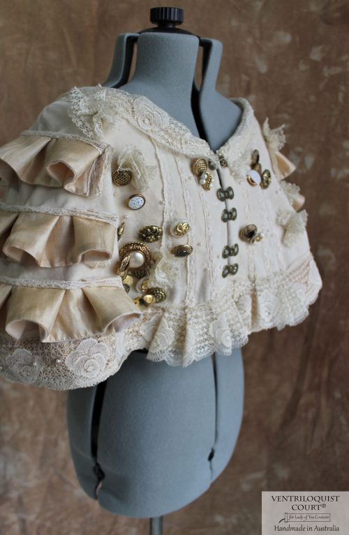 Custom-Made Shipwreck Capelet with Vintage Style Buttons & Lace
