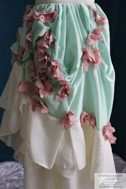 Romantic Mint & Cream Bustle Skirt Made in Australia
