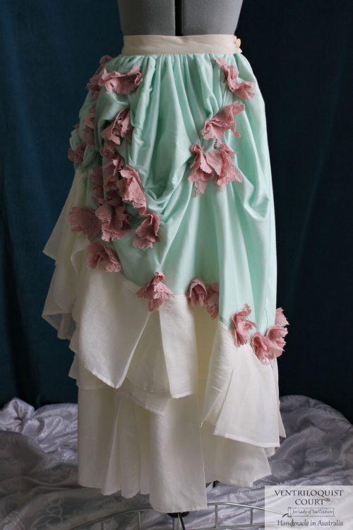 Bohemian Long Bustle Skirt with Flora Buds