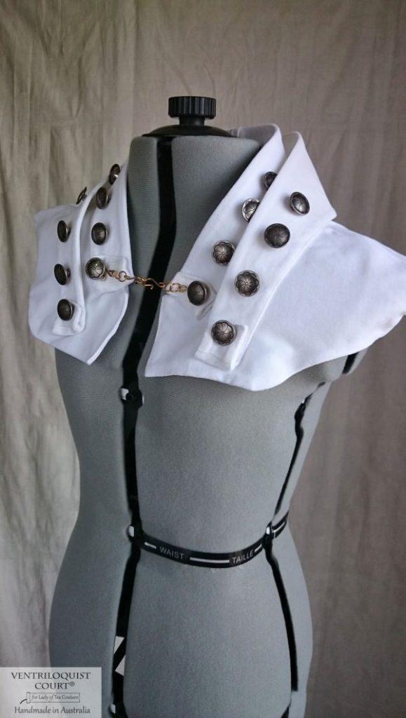White Velveteen Steampunk Avant-Garde Shipwreck High-neck Collar Capelet with Brass Buttons