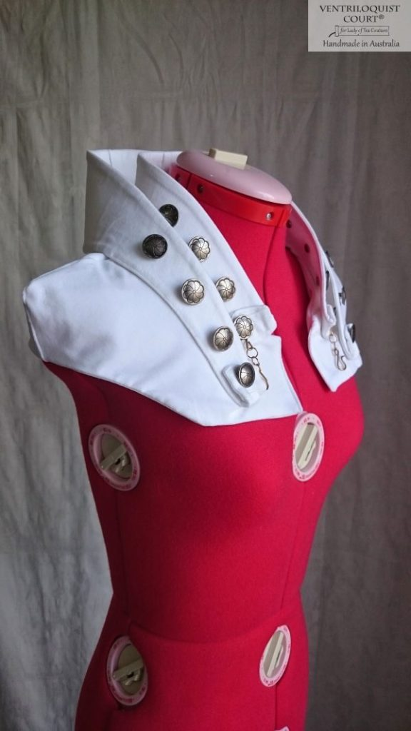White Velveteen Steampunk Avant-Garde Shipwreck High-neck Collar Capelet with Brass Buttons