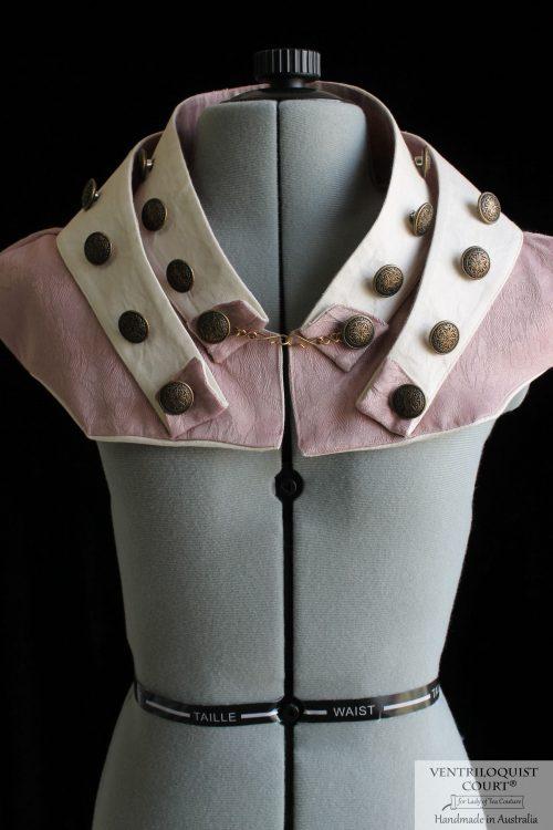 Retrofuturism Steampunk Collar with Brass Buttons