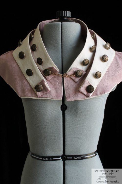 Retrofuturism Steampunk Collar with Brass Buttons