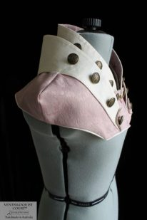 Dusty Pink Damask High-neck Steampunk Collar