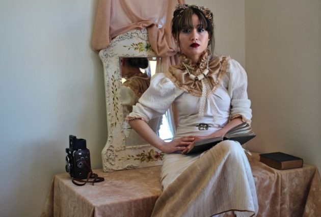 Custom Victorian High-Neck Dress, Natural Woodland Dress